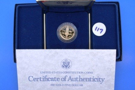 117: One (1) 1987 Proof GOLD 5$ United States Constitut