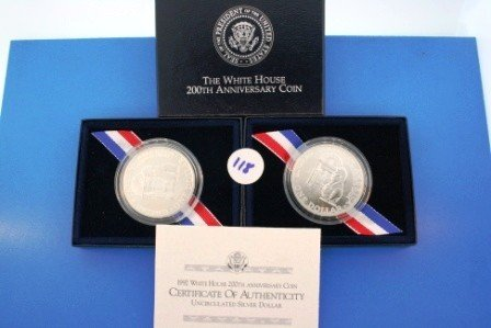 118: Two (2) 1992 Uncirc Silver 1$ White House 200th An