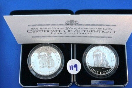 119: Two (2) 1992 Proof Silver 1$ White House 200th Ann