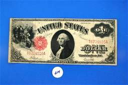 214: One (1) Large Note 1$ Legal Tender Note (red seal)