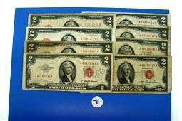 216: Eight (8) Red seal US 2$ Bills