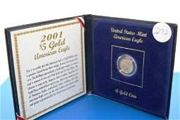 272: (1) 2001 BU GOLD American Eagle 5$ coin