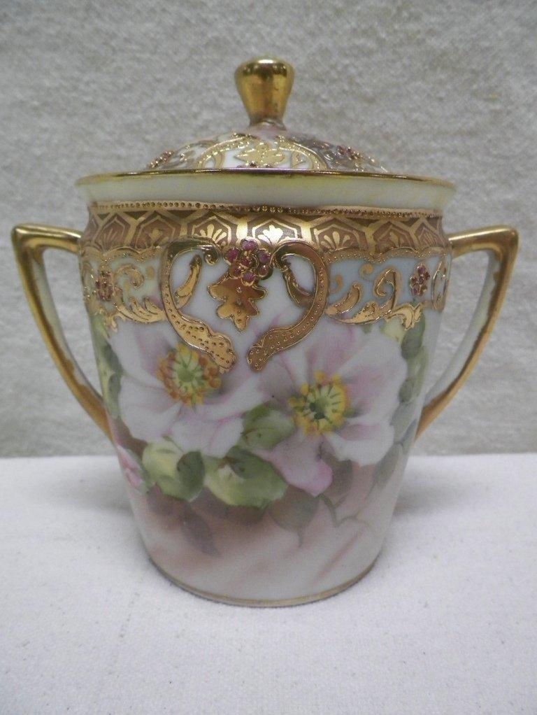 Nippon Moriage Sugar Bowl w/Lid Wild Roses Heavy Gold