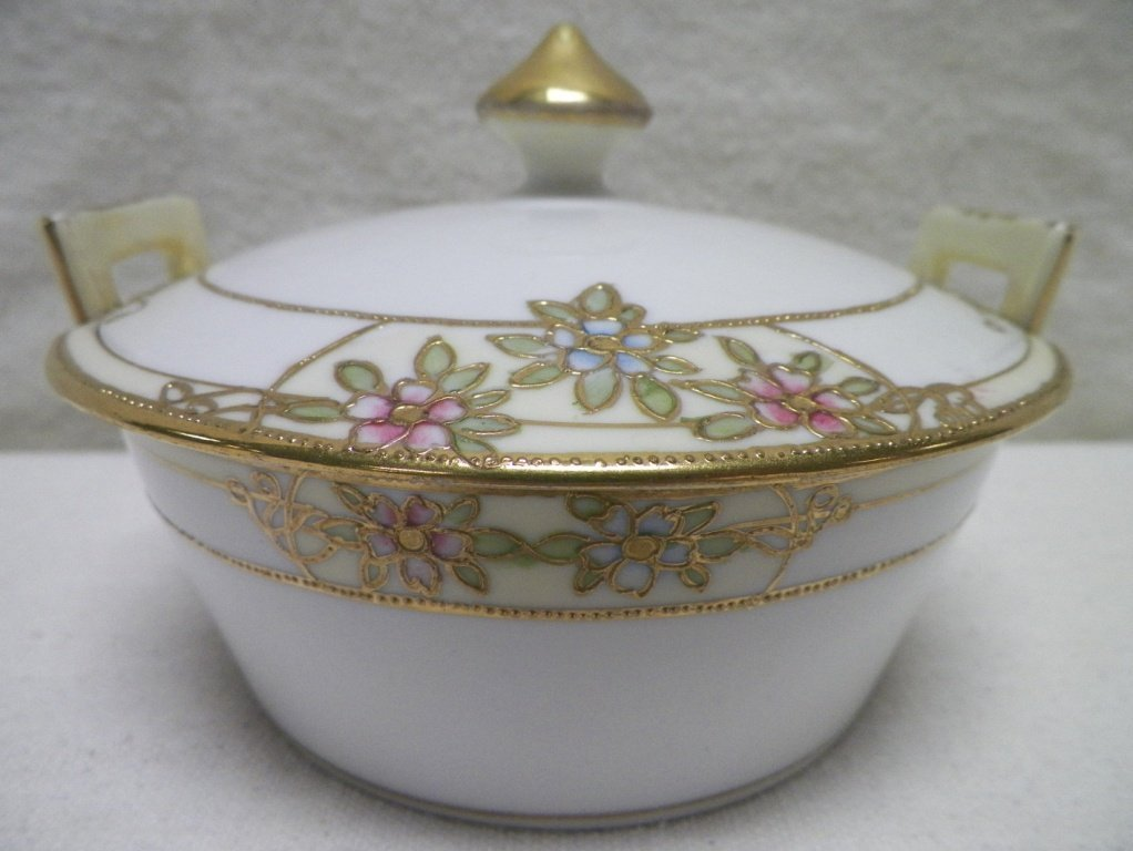 Nippon 3 Piece Covered Cheese Raised Gold and Flowers