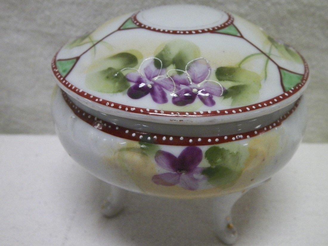 Nippon Footed Powder Jar w/Lid Violets Made in Japan