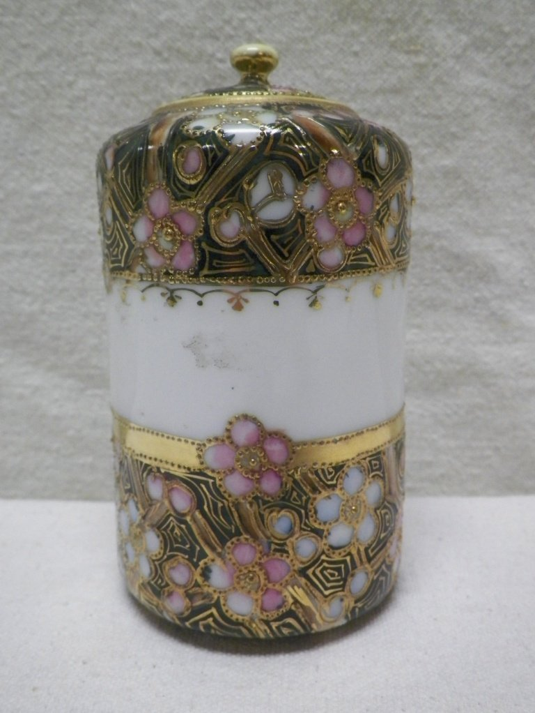 Nippon Covered Jar Moriage Heavy Gold Flowers Maple
