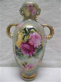 Royal Moriye Moriage Nippon Handled Vase Gold/Blue