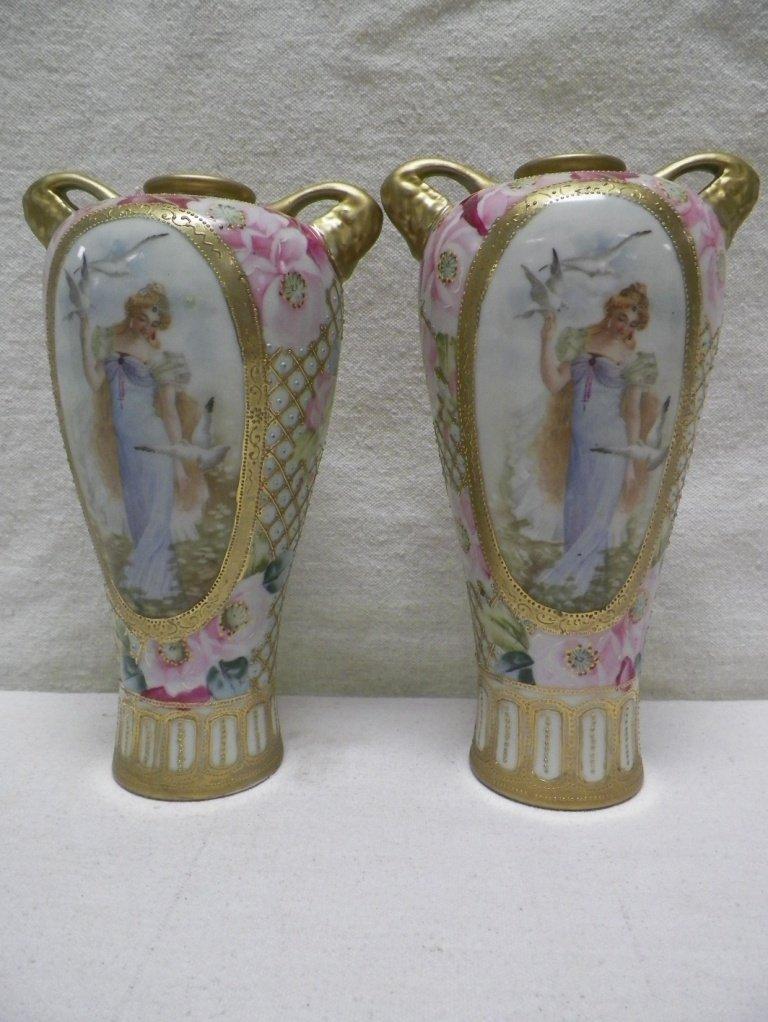 Pair (2) Nippon Moriage Portrait Vases Maple Leaf Mark