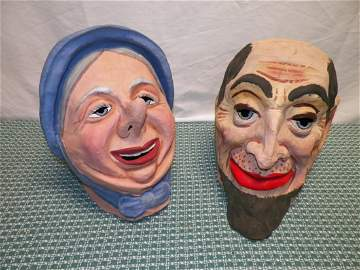 Early 1900s Ma and Pa Paper Mache Heads (Halloween or