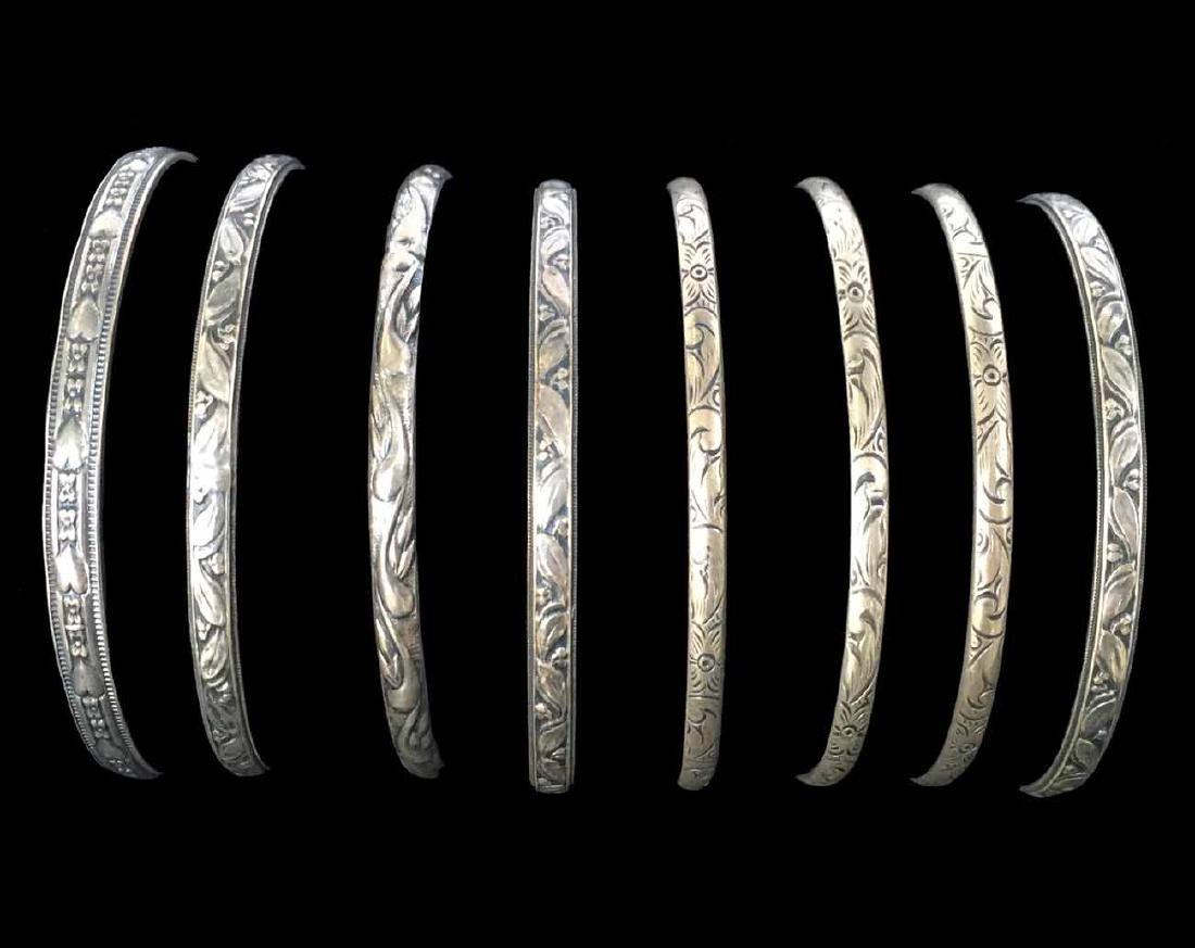 (8) Sterling Silver Bangle Bracelets