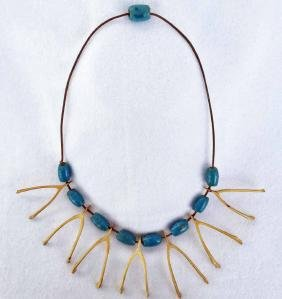 Native American Wishbone And Blue Bead Necklace