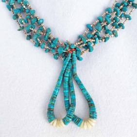 Native American Turquoise And Beaded Necklace