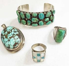 Native American Sterling Silver And Turquoise Jewelry