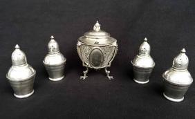 (5pcs) Sterling Condiment Jar and Sterling Salt &