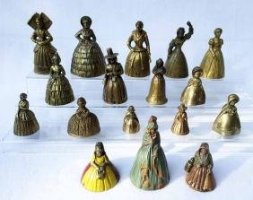 (16) 19th Century Bronze and Brass Lady Figural Bells
