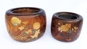 (2)  Late 19th - Early 20th Century Wood Japanese