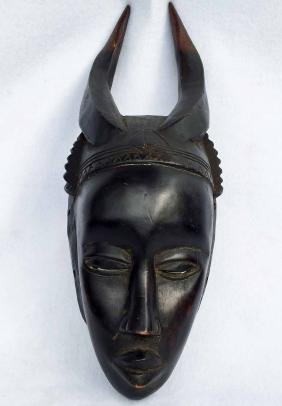African Baule Wood Carved Mask with Horns