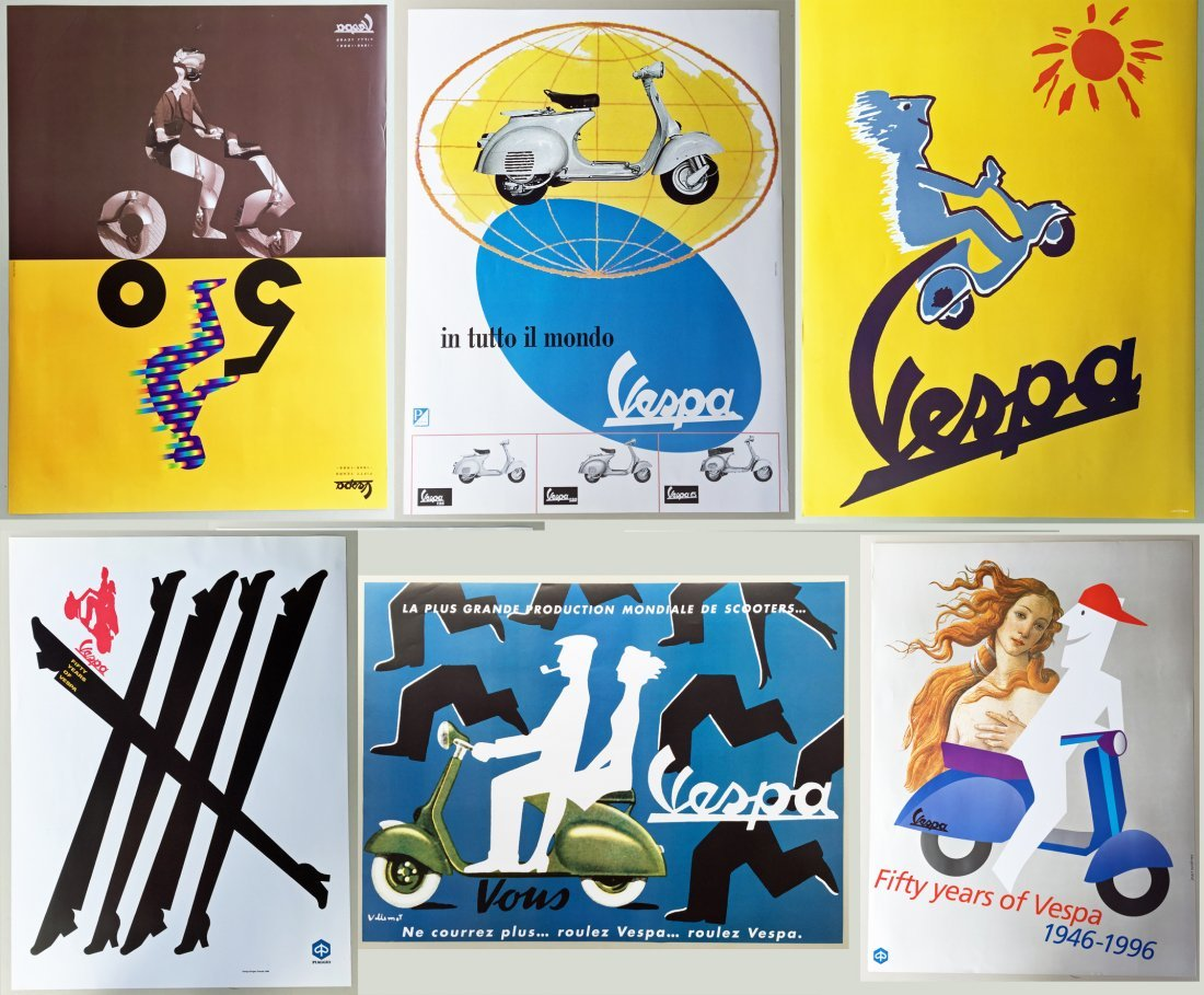 (6) Vespa Posters