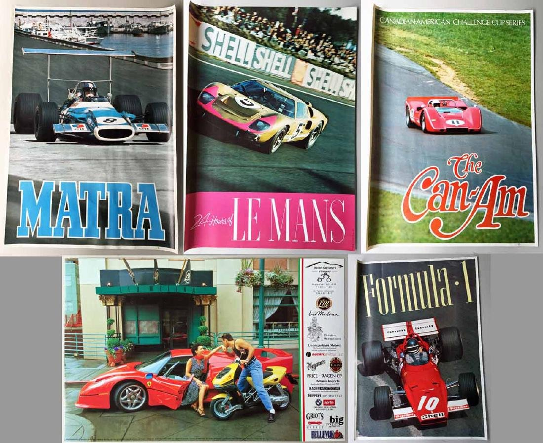 (5) Ferrari Poster and Race Car Posters