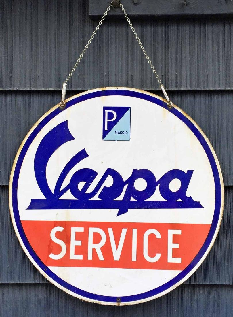 Enamel Vespa Service Sign