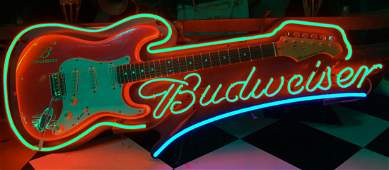 Neon Budweiser Guitar Sign