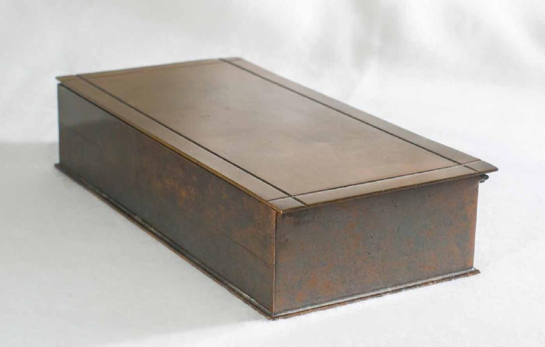 Art Deco Silver Crest Bronze Box