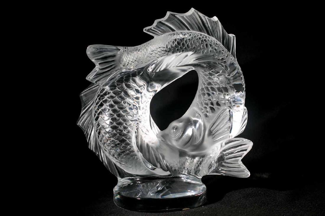 Lalique Crystal Deux Poissons Double Fish Sculpture - 3