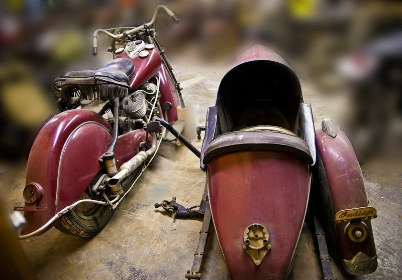 287: 1948 Indian Chief Motorcycle with Princess Sidecar