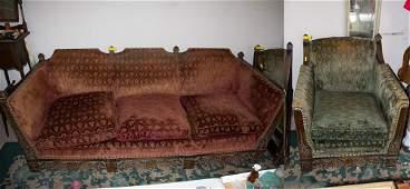 Gothic Style Mohair Sofa & Chair