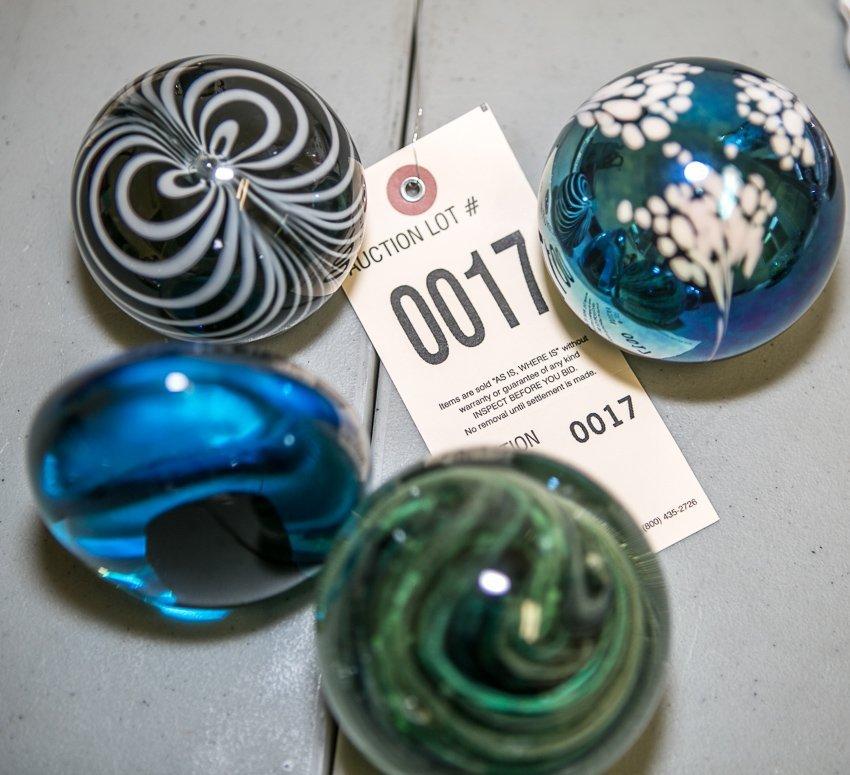 (4) Art Glass Paper Weights