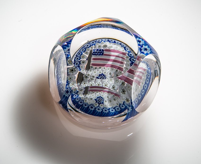 Whitefriars 1976 American Flag Paperweight.