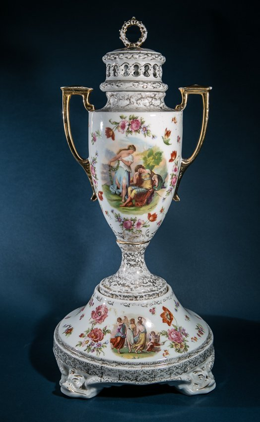 19th Century, Signed Dresden signed Urn