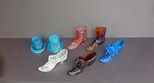 Fenton Glass Slippers, Top Hat Toothpick Holders and a