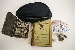Civil War Musket Balls GAR Cap and Confederate Book