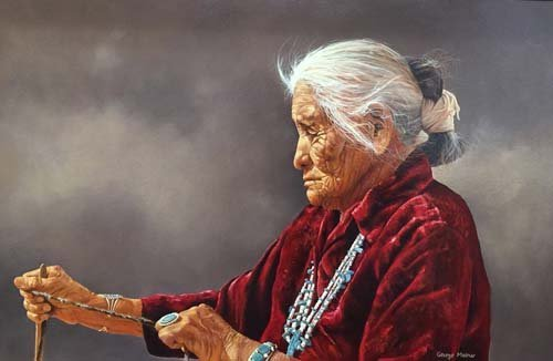 George Molnar Incredible Native American Oil Painting