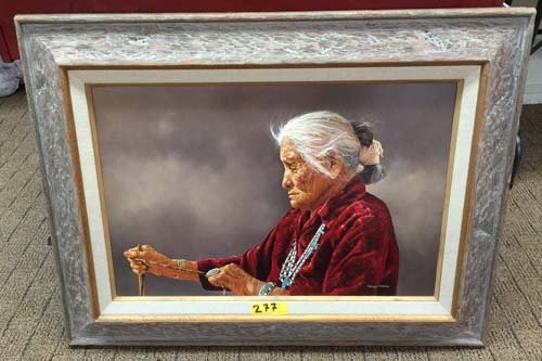 George Molnar Incredible Native American Oil Painting - 8