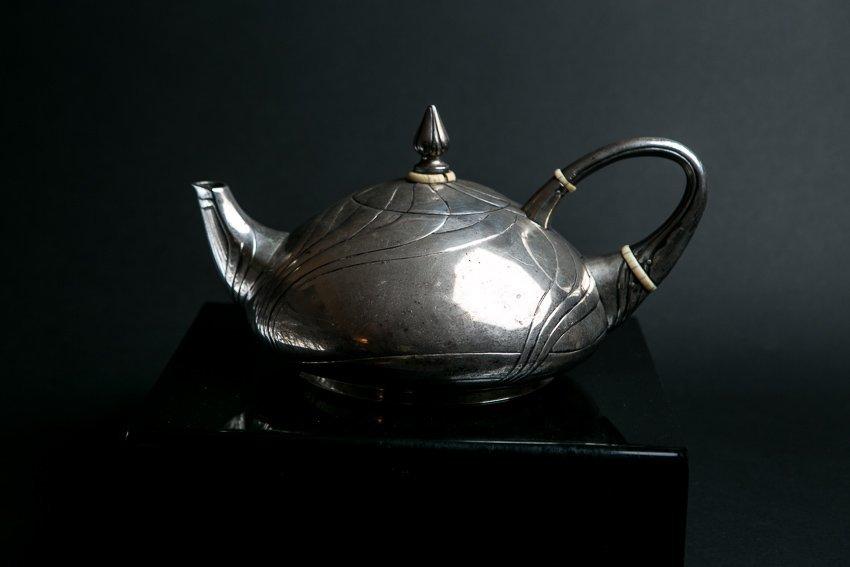 LAZARUS POSEN Art Nouveau Sterling Silver Teapot - 4