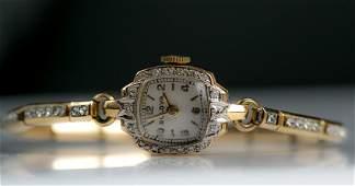 Vintage 14K Yellow Gold Bulova  Ladies Wrist Watch