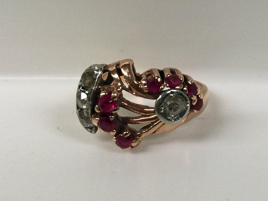 Art Deco Ladies 14K Diamond and Ruby Ring