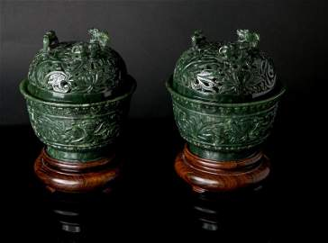(2) Important Qianlong Spinach Jade Lotus Cups