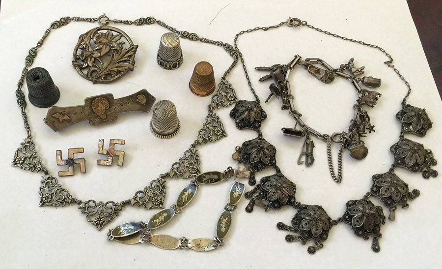 Collection of Antique Sterling Silver Jewelry
