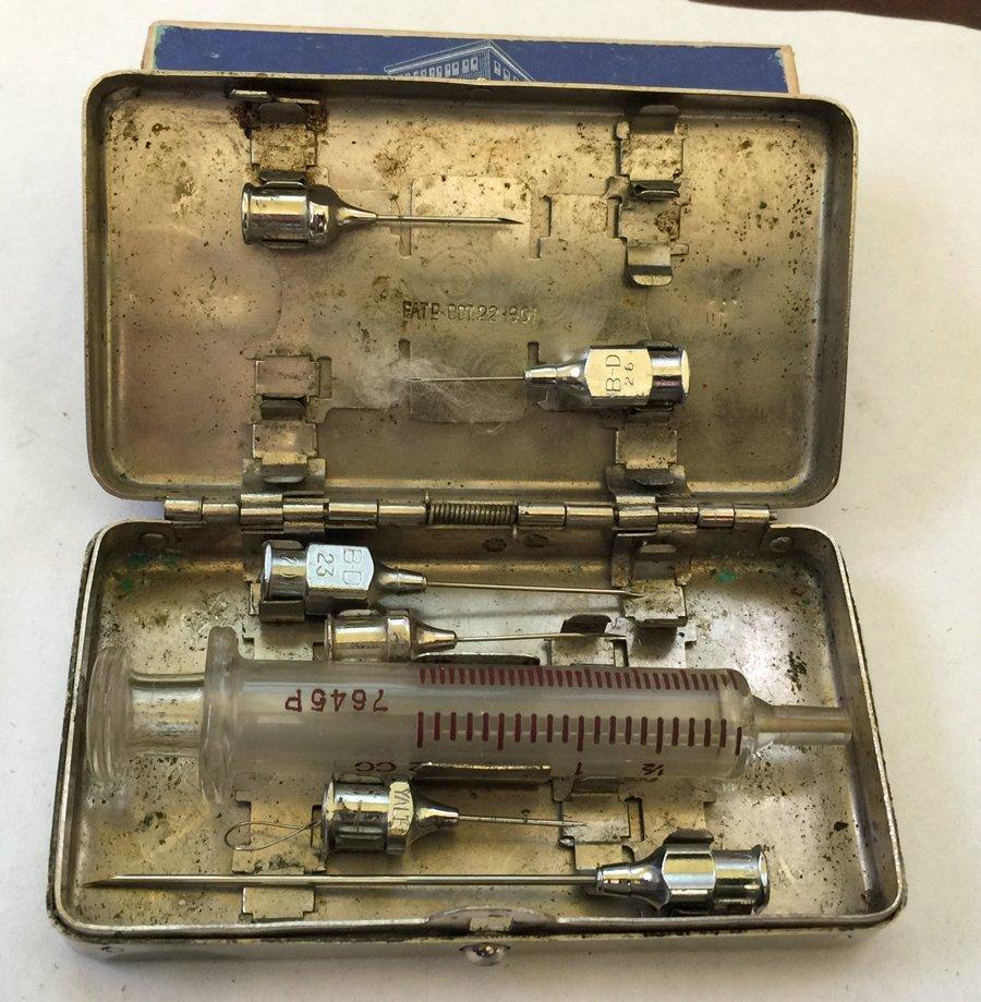 Vintage German Silver Medical Syringe Box