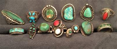 14 Native American Sterling Silver Rings