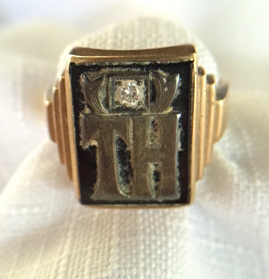 Gold and Diamond Signet Ring