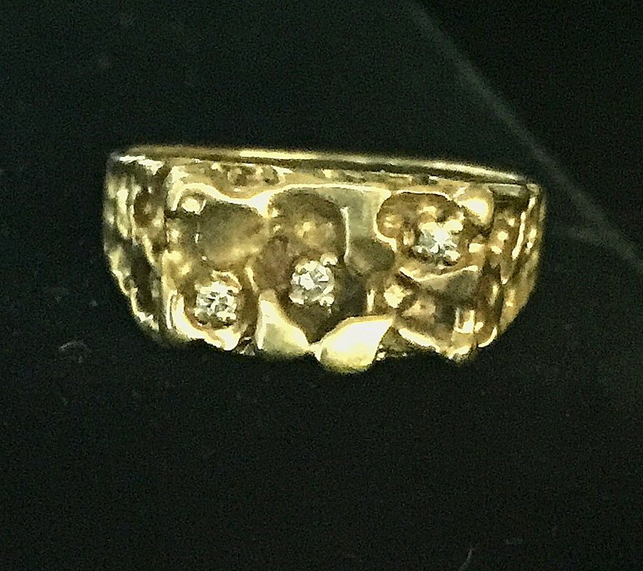 Gold Nugget and Diamond Ring