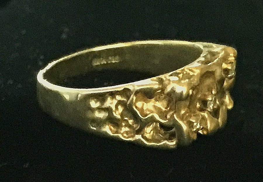 Gold Nugget and Diamond Ring - 2