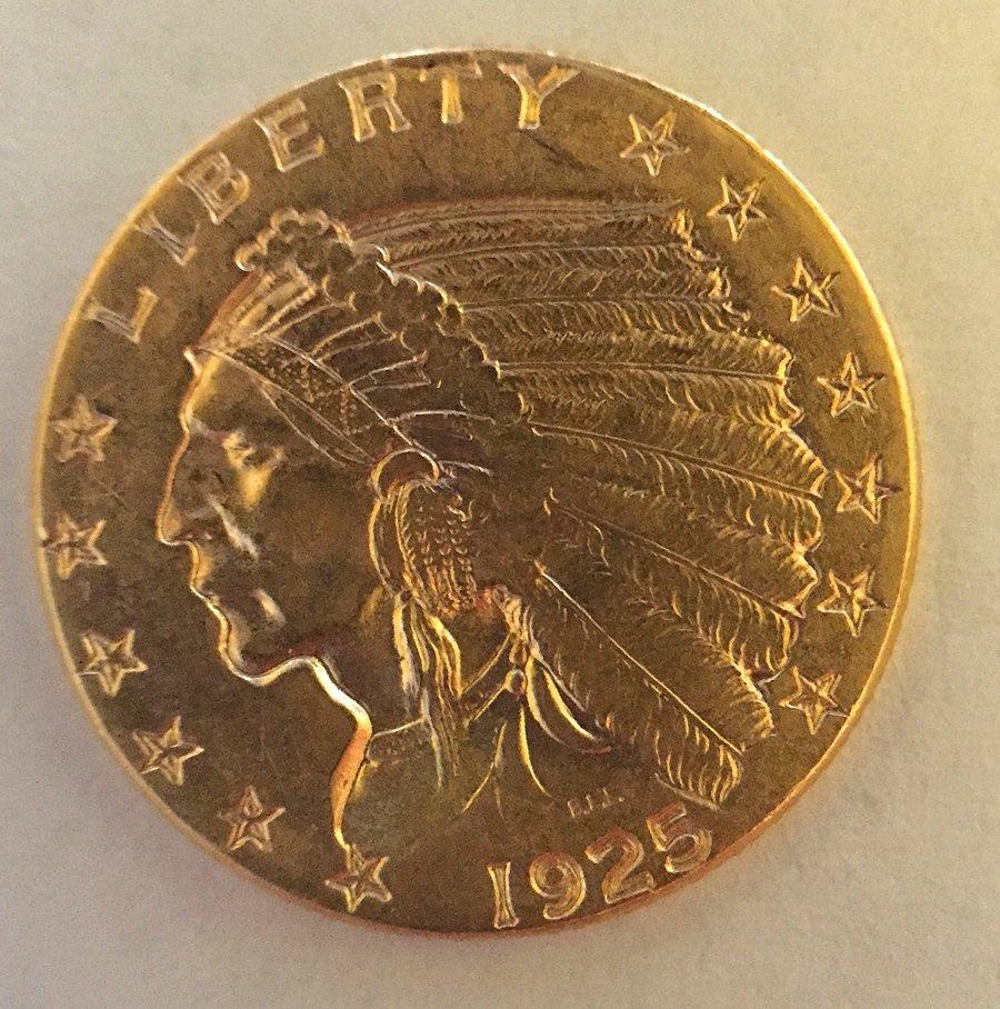 2 1/2 Dollar Indian Head Gold Coin