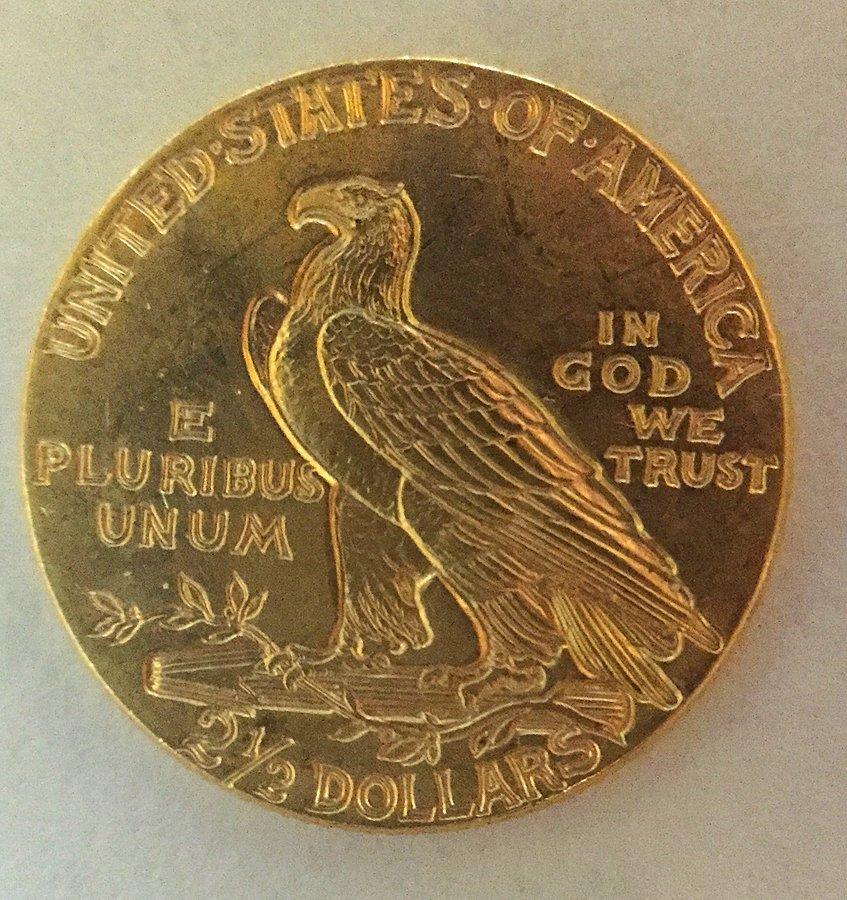 2 1/2 Dollar Indian Head Gold Coin - 2