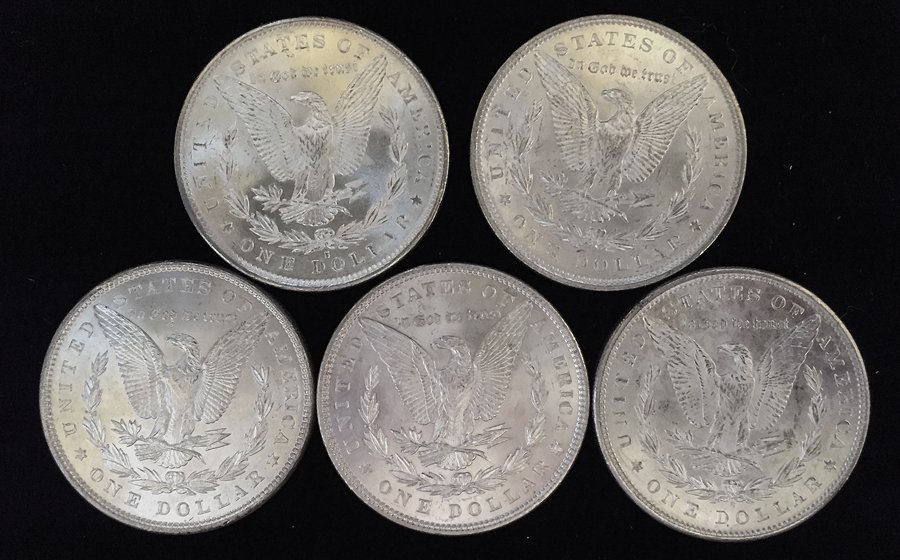 (5) Morgan Silver Dollars - 2
