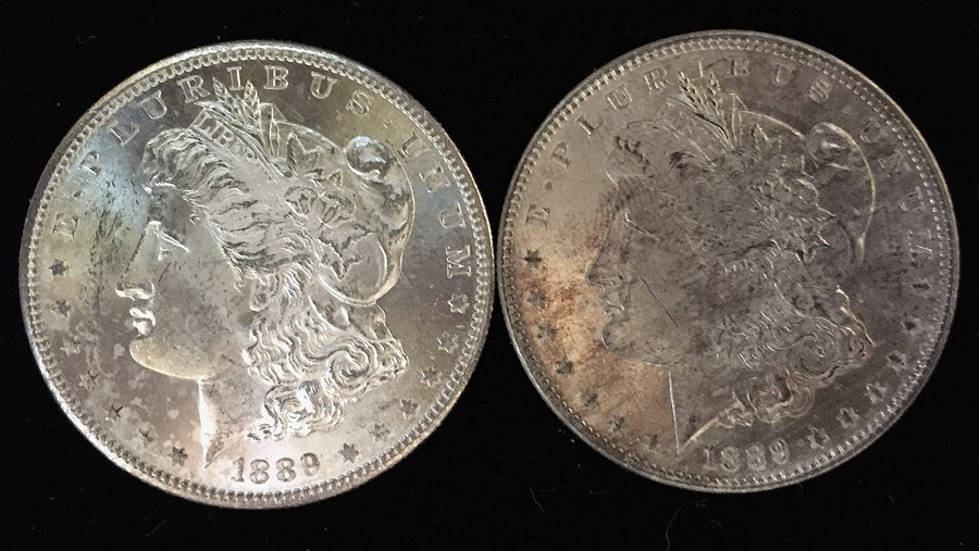 (2) Morgan Silver Dollars (BU)